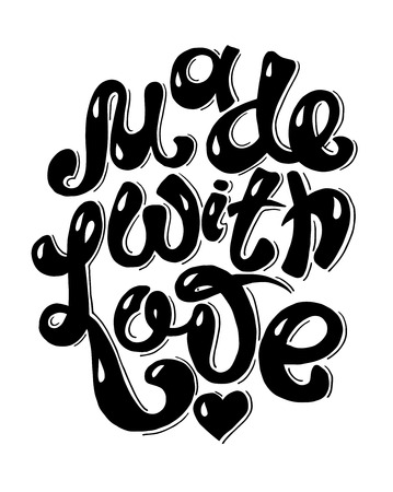 guaranty: black and white Made With Love hand lettering inscription, calligraphy quote, handwritten vector illustration