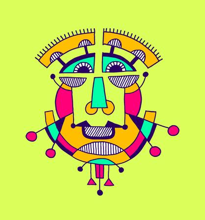 cubismo: avantgarde original de la composici�n geom�trica de la cara del hombre persona, ilustraci�n vectorial cabeza avatar humano en estilo del cubismo