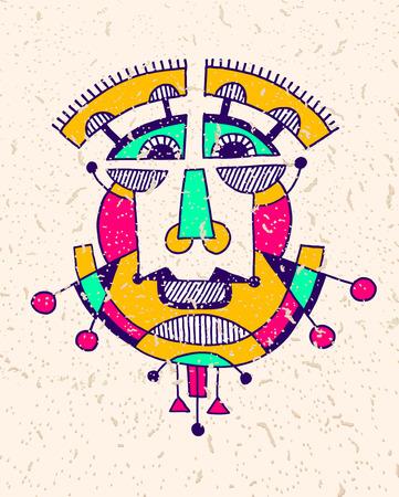 human vector: original avantgarde geometric composition of man person face, human head avatar vector illustration in cubism style Illustration