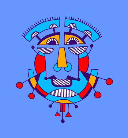 modernism: original avantgarde geometric composition of man person face, human head avatar vector illustration in cubism style Illustration