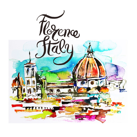 Florence Italy watercolor painting illustration with hand lettering inscription for traveling Stock Photo