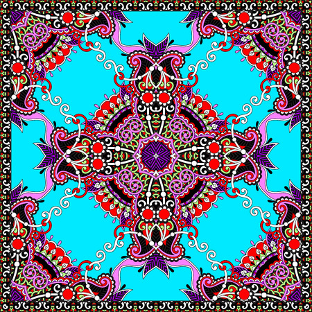 ascot: authentic silk neck scarf or kerchief square pattern design in ukrainian style for print on fabric, vector illustration