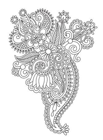 ink drawing: black line art ornate flower design, ukrainian ethnic style, hand drawing, vector illustration