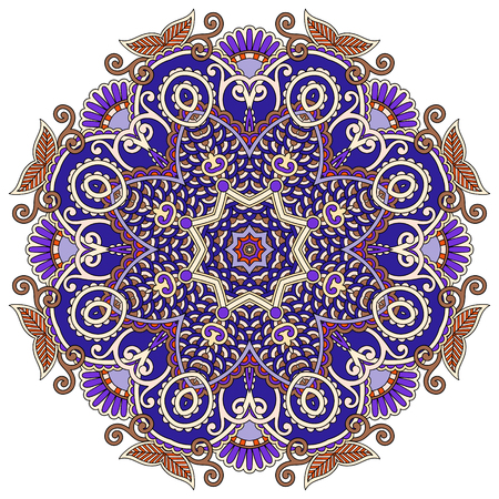 fortune flower: mandala, circle decorative spiritual indian symbol of lotus flower, round ornament pattern, vector illustration