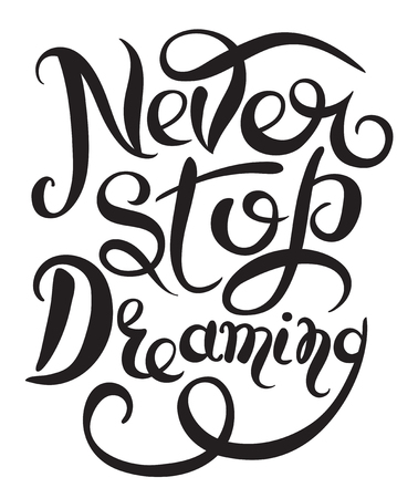 Never stop dreaming Inspirational black text motivational poster on white background, hand lettering positive  quote, vector illustration