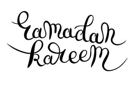 writting: decorative lettering design for holy month of muslim community festival ramadan kareem black and white inscription hand drawn calligraphy writting, vector illustration