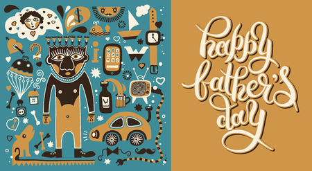 retro type: happy fathers day greeting card with hand lettering inscription vintage retro type font and father thinks illustration, vector calligraphy poster
