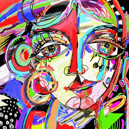 ursprüngliche abstrakte digitale Malerei der menschlichen Gesicht, bunte Komposition in der zeitgenössischen modernen Kunst, ideal für Interior Design, Dekoration Seite, Web und andere, Vektor-Illustration
