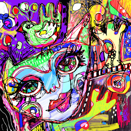 abstract digital contemporary painting artwork of cat and bird on a head, doodle art vector illustration Vectores
