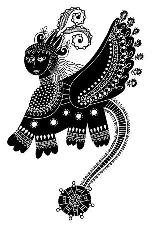 Diseño étnico del doodle animal fantástico en estilo karakoko, animal inusual, ilustración vectorial pintura folclórica tradicional de Ucrania Ilustración de vector