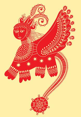 ukrainian traditional: ethnic fantastic animal doodle design in karakoko style, unusual animal, ukrainian traditional painting  folkloric vector illustration