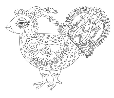 peafowl: line art cock drawing for coloring book page joy to older children and adult colorists, who like line art and creation, black and white vector illustration
