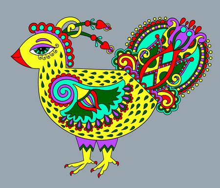 fowl: original retro cartoon chicken drawing, symbol of 2017 new year of the rooster in karakoko style, vector illustration
