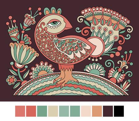verschnörkelt: original Retro-Cartoon-Huhn Zeichnung, Symbol der 2017 neuen Jahr des Hahns in karakoko Stil, Vektor-Illustration Illustration