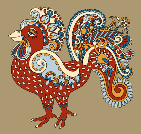 original: original retro cartoon chicken drawing, symbol of 2017 new year of the rooster, vector illustration