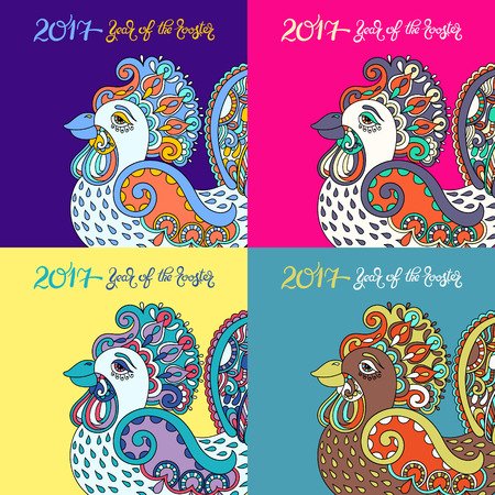 chinese ethnicity: color collection original design for new year celebration chinese zodiac signs with decorative rooster, folk vector illustration with hand written lettering inscription 2017 year of the rooster Illustration