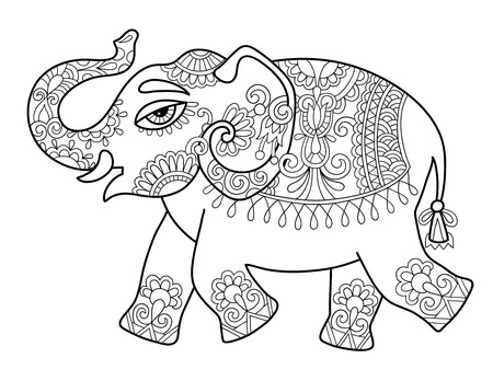 ethnic indian elephant line original drawing, adults coloring book page, black and white vector illustration