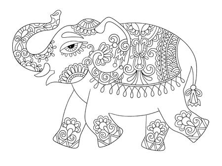 Dibujo original línea de elefante indio étnico, adultos colorear página del libro, ilustración vectorial blanco y negro Foto de archivo - 58024854