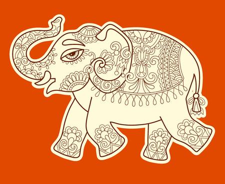 dibujo patrón de elefante, ilustración indio étnico estilizada original del vector
