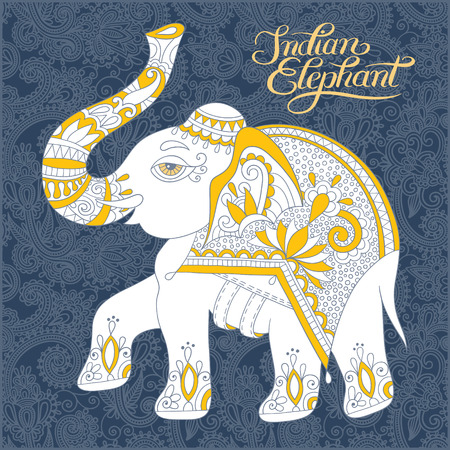 devotional: original indian pattern with elephant and handwritten inscription for invitation, cover design, fabric pattern or page decoration, ethnic border on vintage flower background, vector illustration Illustration