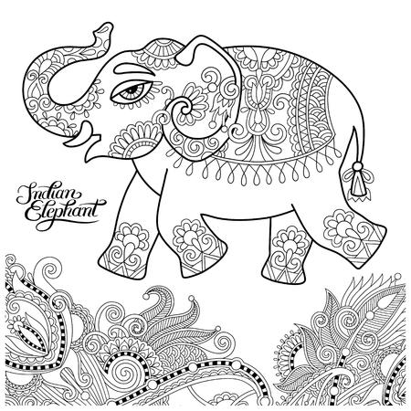 ethnischen indischen Elefanten Linie Original-Zeichnung, Erwachsene Malbuch Seite, schwarz und weiß Vektor-Illustration