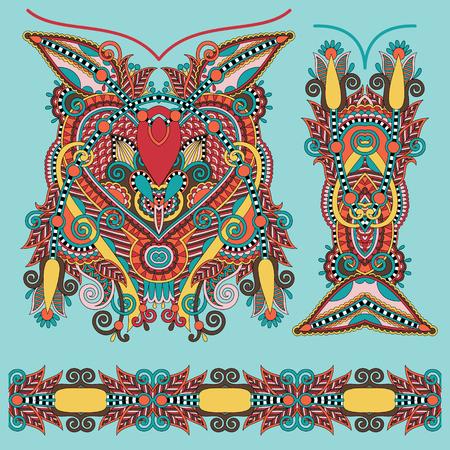 neckline: Neckline ornate floral paisley embroidery fashion design, ukrainian ethnic style. Good design for print clothes or shirt. Vector illustration Illustration