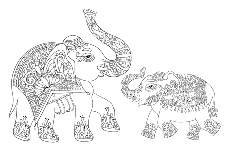 line drawing: ethnic indian elephant line original drawing, adults coloring book page, black and white vector illustration