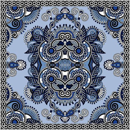 kerchief: authentic silk neck scarf or kerchief square pattern design in ukrainian style for print on fabric, vector illustration