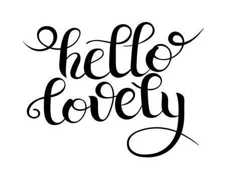 Hello october hand lettered greeting modern stock vector