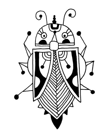 hexapod: black and white handmade liner drawing of ethnic beetle in flat style, line art design, modern sketch insect vector illustration