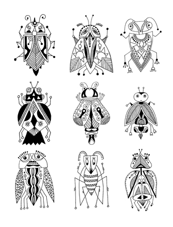 insect: black and white handmade liner drawing of ethnic beetle in flat style, line art design, modern sketch insect vector illustration