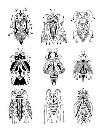 insecto: dibujo blanco y negro forro hecha a mano del escarabajo étnica en estilo plano, diseño de gráficos de línea, moderna ilustración insecto vector del bosquejo