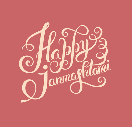 mahabharata: happy krishna janmashtami hand lettering inscription typography poster for indian traditional festival, vector illustration