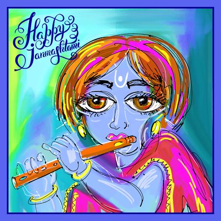 mahabharata: happy krishna janmashtami digital painting poster for indian traditional festival, vector illustration Illustration