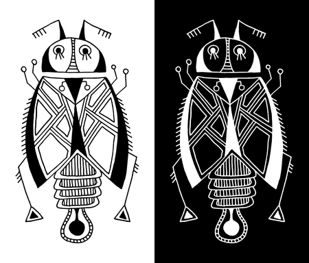 black and white handmade liner drawing of ethnic beetle in flat style, line art design, modern sketch insect vector illustration