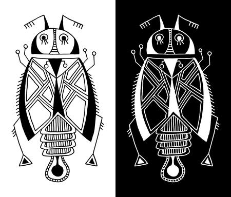 arte moderno: dibujo blanco y negro forro hecha a mano del escarabajo étnica en estilo plano, diseño de gráficos de línea, moderna ilustración insecto vector del bosquejo