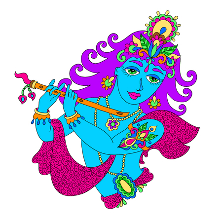lord krishna: drawing of god lord Krishna for Janmashtami festival, vector illustration Illustration