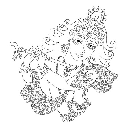 lord krishna: black and white god lord Krishna for Janmashtami festival, line art vector illustration