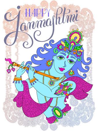 godly: god lord Krishna with hand lettering inscription happy janmashtmi for indian festival, vector illustration