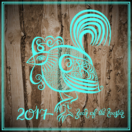 original: original design for new year celebration chinese zodiac signs with decorative rooster, calligraphy folk vector illustration with hand written lettering inscription 2017 year of the rooster