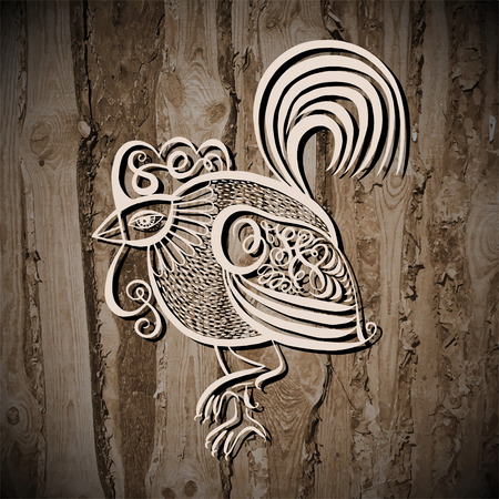 poultry: original line art rooster calligraphy drawing on wooden texture, symbol of 2017 new year, vector illustration Illustration