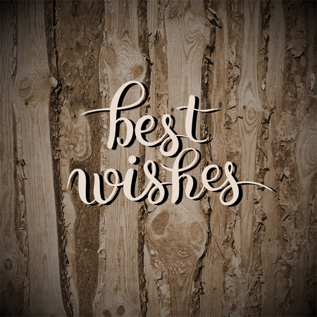 writting: best wishes hand lettering inscription handwritten quote on wooden texture, calligraphy writting, vector illustration