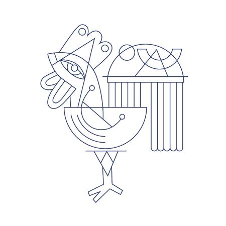 cockscomb: original flat line art drawing of geometric rooster, vector illustration