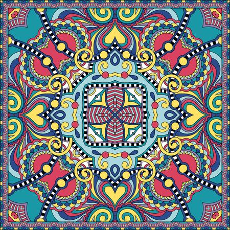 stole: auténtica bufanda de seda o de patrón de diseño cuadrado pañuelo en estilo ucraniano para imprimir sobre tela, ilustración vectorial