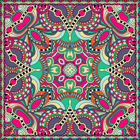 pocket: authentic silk neck scarf or kerchief square pattern design in ukrainian style for print on fabric, vector illustration