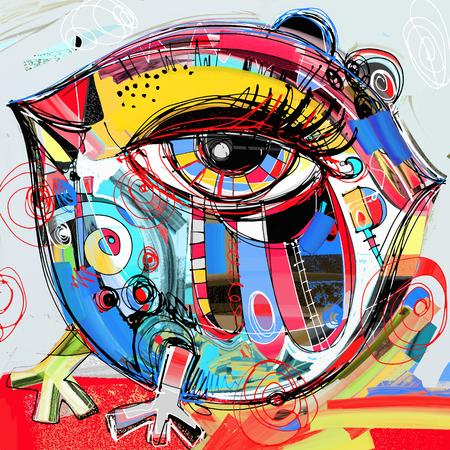 Originele abstracte digitale schilderen kunstwerk van doodle vogel, haan, chiken, gekleurde poster drukpatroon, vector illustratie Stockfoto - 58899899