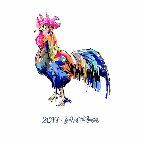 original: original design for new year celebration chinese zodiac signs with decorative rooster, digital painting vector illustration with hand written lettering inscription 2017 year of the rooster