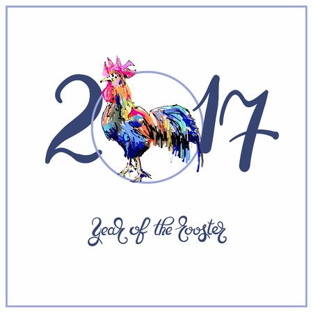 year of the rooster: original design for new year celebration chinese zodiac signs with decorative rooster on circle, digital painting vector illustration with hand written lettering inscription 2017 year of the rooster