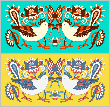 ethno: original oriental decorative ethnic bird with flowers, ethno ukrainian pattern for your design, vector illustration Illustration