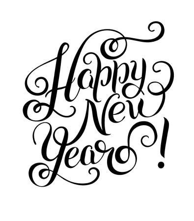 congratulate: Happy New Year hand lettering congratulate inscription, Christmas greeting card, calligraphy vector illustration
